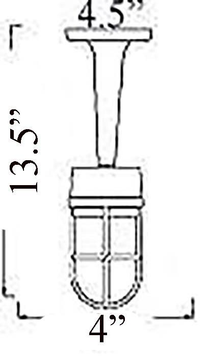Bulkhead Pendant Light Diagram (B-1ARM)