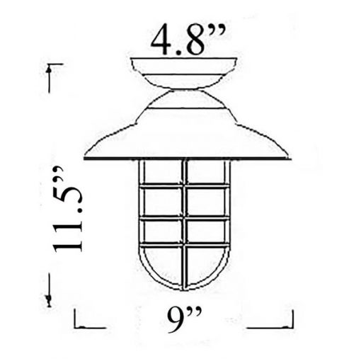 Starboard Pendant Flush Mount Diagram (C-3F)