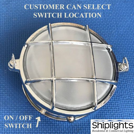 Nautical Bunk Round Bulkhead Light with Switch