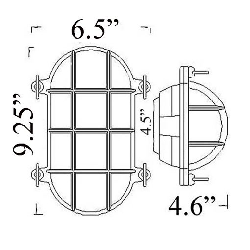 Nautical Cage Oval Bulkhead Sconce Diagram (O-2 Shiplights)