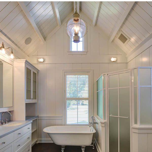 Nautical Bathroom with Chrome Mariner Wall Light by Shiplights