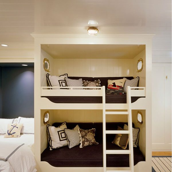 Nautical Bunk Bed Design with Shiplights Oval Cage Lights