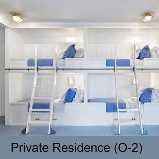 Nautical Bunk Design with brass cage lights by Shiplights