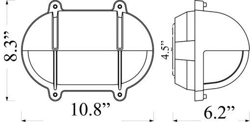 large oval bulkhead light with eyelid - diagram