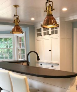 Nautical Kitchen with Cargo Salvaged Pendants