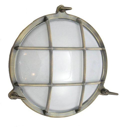 Brass Nautical Clamshell Light - Antique Brass by Shiplights (R-1)