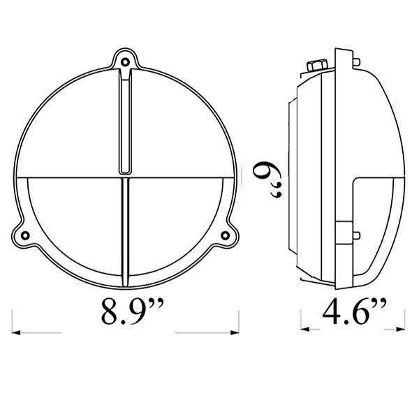 R-11 Round Bulkhead Sconce Diagram by Shiplights