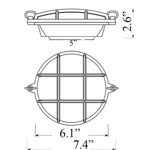 Small Round Bulkhead Sconce Diagram (R-2)
