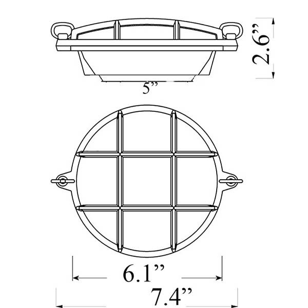 Small Round Bulkhead Sconce Diagram (R-2)