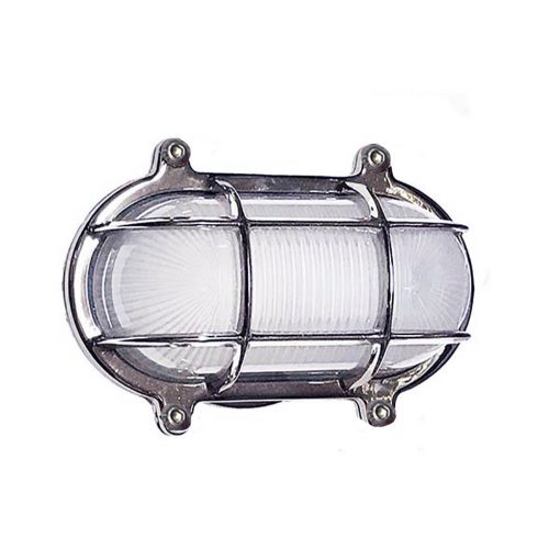 Chrome Oval Cage Bulkhead Sconce by Shiplights