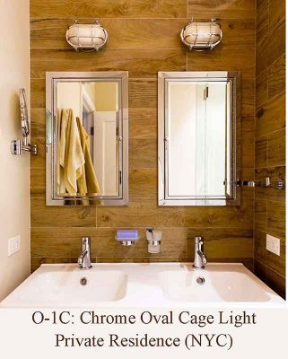 Chrome Small Oval Cage Light in New York City Bathroom