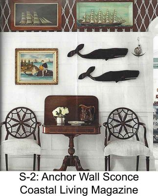 Polished Nautical Anchor Wall Sconce by Shiplights